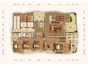 合院大平层别墅标准层d户型约428平图片