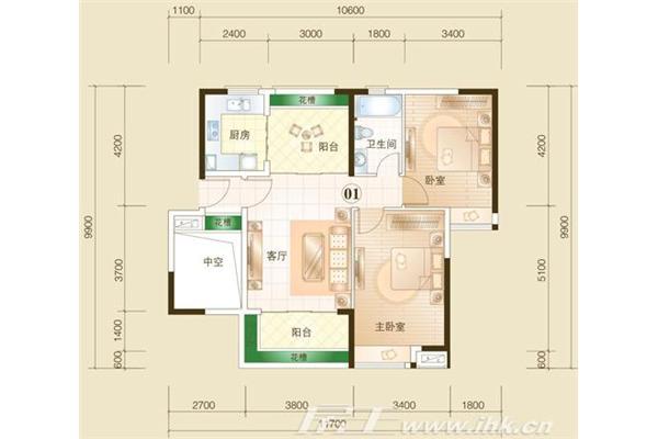 70平米二房一厅设计图