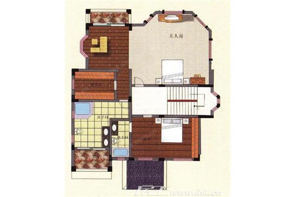 南沙创鸿汇2期1-10,40,58-73栋d型别墅二层户型图
