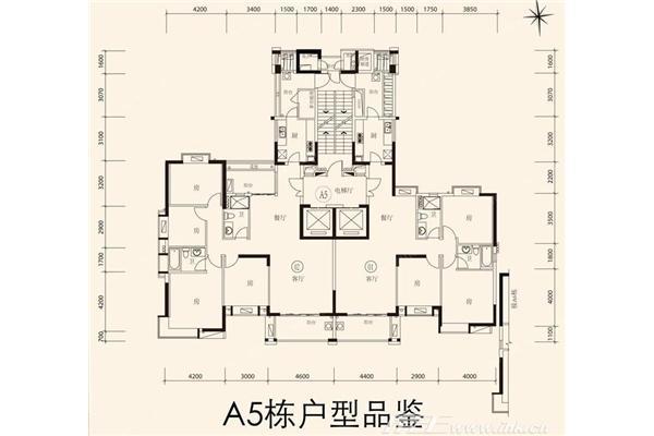 富力唐宁花园 户型图 a5栋标准层户型平面图