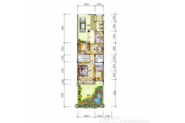 296平联排别墅4房2厅4卫一层平面图