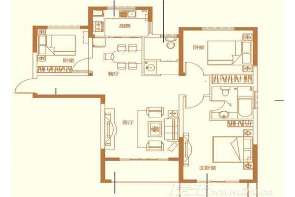 盛世珑门楼盘户型图_a3 爱丽舍宫3室2厅2卫1厨 119.92