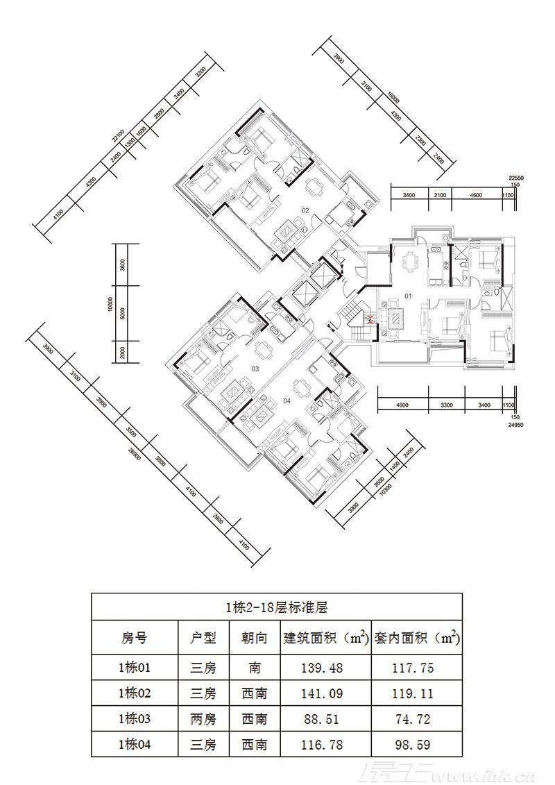 天美小岛楼盘户型图_1栋平面图