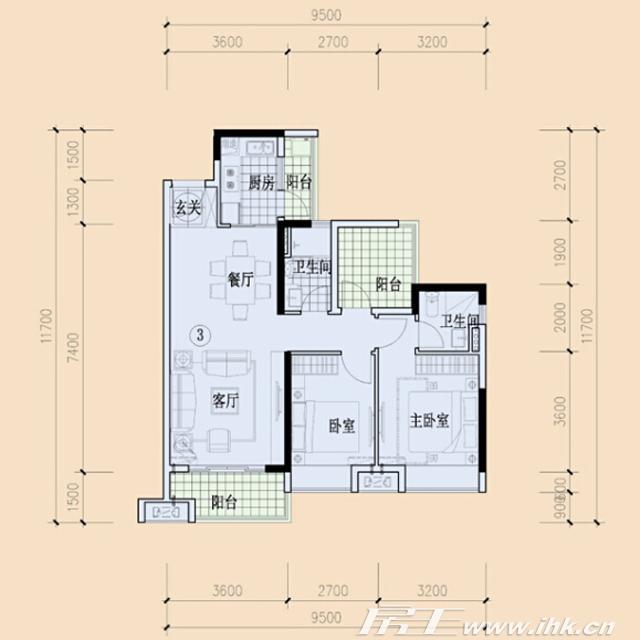 绿地大都会楼盘户型图_90m2洋房2房2厅2卫_东莞新房