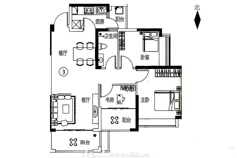 紫悦明都3号楼03单元户型图