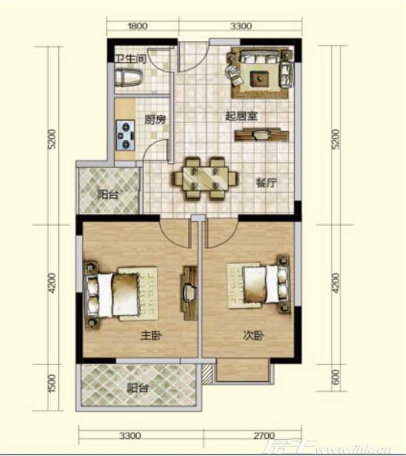 户型图长宁家园65平米两房两厅一卫