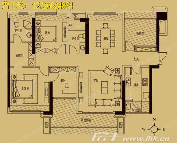 100方三房一厅设计图